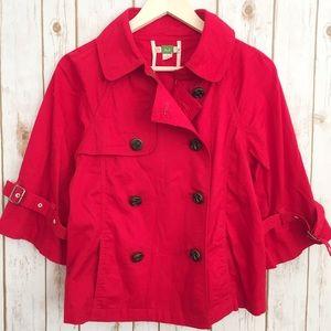 Ett TWA Anthropologie red trench pea jacket